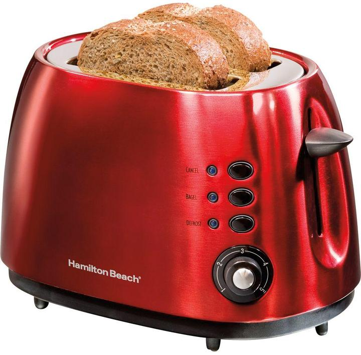 Hamilton Beach 2-Slice Bagel Toaster in Cherry Red with Defrost and Cancel Functions