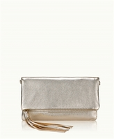 GiGi New York Stella Fold-Over Clutch White Gold Metallic Goatskin
