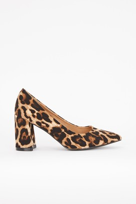 Wallis Brown Animal Print Block Court Shoe