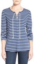 NYDJ Petite Women's Lace-Up Stripe Knit Top