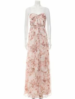 Jenny Yoo Floral Print Long Dress Pink