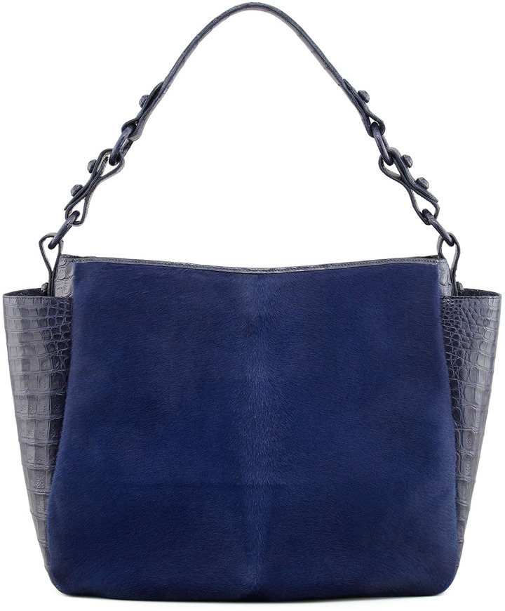 Nancy Gonzalez Crocodile & Calf Hair Double-Pocket Hobo, Navy
