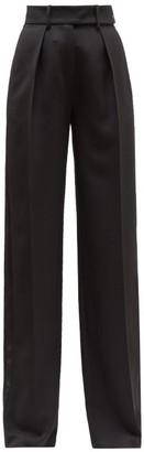 Alexandre Vauthier Side Stripe Cotton Velvet Wide Leg Trousers - Womens - Black