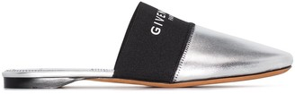 Givenchy Bedford metallic leather logo mules