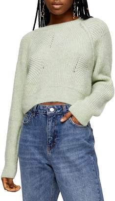 Topshop Swirl Crop Sweater