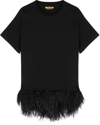 Marques Almeida Black Feather-trimmed Cotton T-shirt Dress