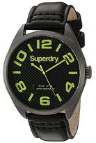 Superdry Men's 'Military' Quartz Brass-Plated-Stainless-Steel and Leather Dress Watch, Color:Black (Model: SYG192BYA)