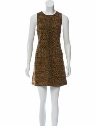 Saint Laurent Animal Print Leather Dress Brown