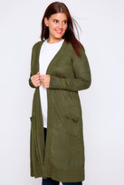 Yours Clothing Khaki Maxi Knit Cardigan With Pockets