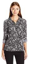 Notations Women's Printed Long Sleeve Rolled To 3/4 Y-Neck Blouse with Pockets