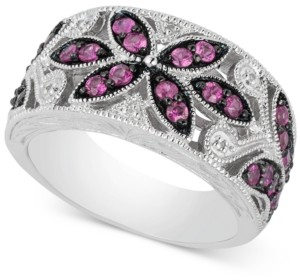 Macy's Emerald (7/8 ct. t.w.) & Diamond Accent Filigree Band in Sterling Silver (Also available in Sapphire and Ruby)