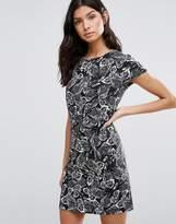 Liquorish Monochrome Leaf Print Tailored Dress