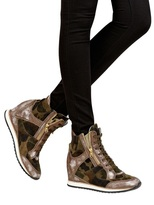 70mm Suede Camouflage Wedge Sneakers