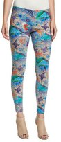 Etro Paisley-Print Low-Rise Leggings, Turquoise/Purple