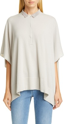 Fabiana Filippi Brilliant Bead Collar Cashmere Cape