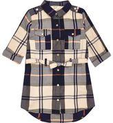 River Island Mini girls navy and cream check shirt dress