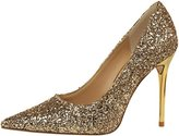 PPXID Women's Glittery Sequins Pointed-Toe Stilettos High Heel Wedding Pumps- 37 CN