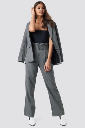 NA-KD Small Check Paperbag Suit Pants Grey