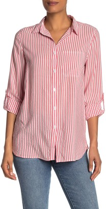 Workshop Striped Roll-Sleeve Tunic Shirt