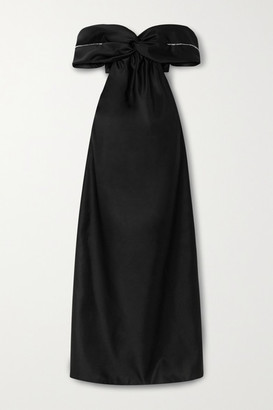 Area Off-the-shoulder Cutout Crystal-embellished Duchesse-satin Gown - Black