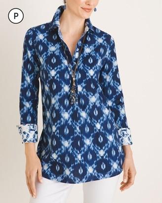 No Iron Petite Cotton-Blend Batik-Print Tunic