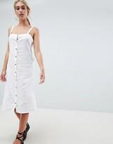 Asos DESIGN midi beach dress in linen with tortoiseshell buttons
