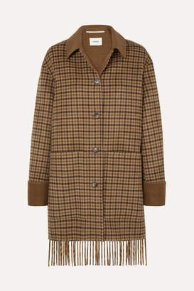Nanushka Marzy Fringed Checked Wool And Silk-blend Coat - Brown