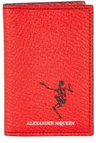 Alexander McQueen Skeleton-print Red Leather Card Holder