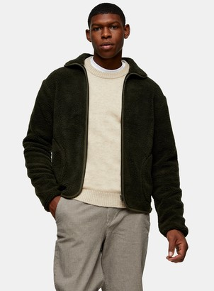 Topman SELECTED HOMME Green Borg Shetland Zip Through Jacket