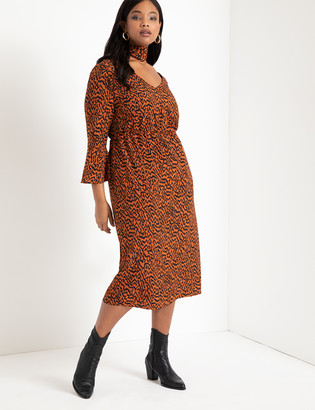 ELOQUII Printed Flare Sleeve Dress with Scarf