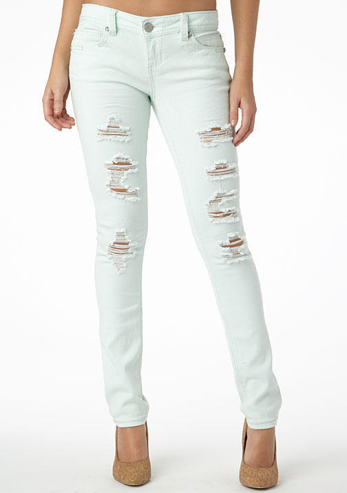 Alloy Almost Famous Destructed Color Skinny Jean