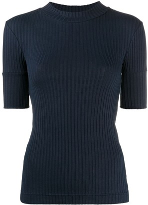 Courreges Short Sleeved Ribbed Top