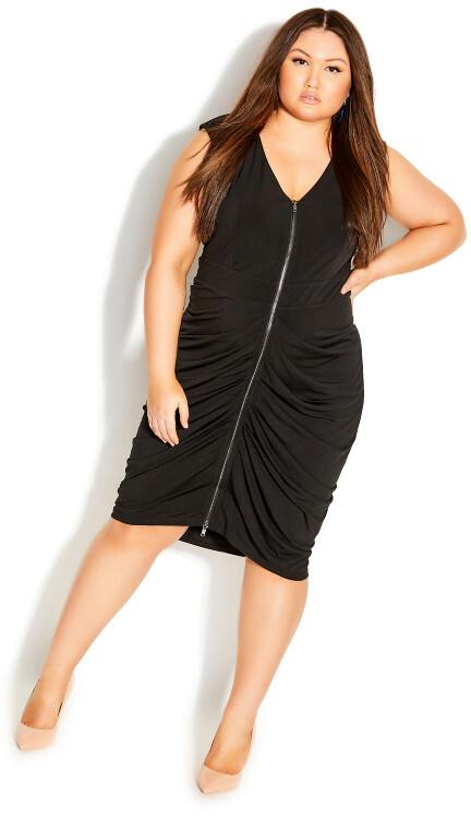 City Chic Sexy Drape Dress - black