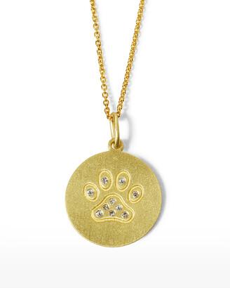 Roberto Coin 18k Diamond Paw Disc Pendant Necklace