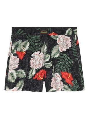 Gucci Hawaiian-print Silk Shorts