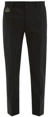 Dolce & Gabbana Crown Embellished Wool Blend Crepe Trousers - Mens - Black