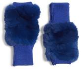 Jocelyn Women's Genuine Rabbit Fur Fingerless Knit Mittens