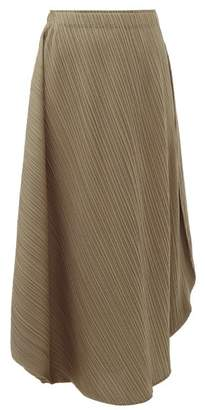 Pleats Please Issey Miyake Curved Pleated Midi Skirt - Womens - Grey