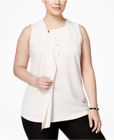 Alfani Plus Size Ruffled Zip-Front Blouse, Only at Macy's