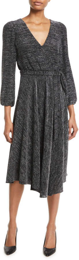 Coco Plunging Long-Sleeve Space-Dye Midi Dress