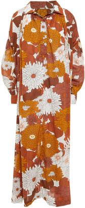 Dodo Bar Or Vyan Gathered Floral-print Cotton Midi Dress