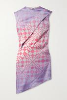 Thumbnail for your product : MAISIE WILEN Cat Eye Asymmetric Printed Stretch Silk-satin Mini Dress - Pink