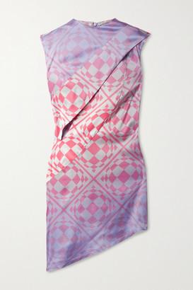 MAISIE WILEN Cat Eye Asymmetric Printed Stretch Silk-satin Mini Dress - Pink