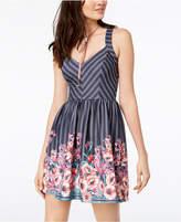 Trixxi Juniors' Mixed-Print Fit & Flare Dress