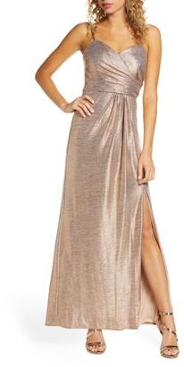 Morgan & Co. Shimmer Front Slit Gown