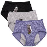 YOYI FASHION Women Menstrual Period Briefs Jacquard Easy Clean Panties Multi Pack Size XS-2XL (XL, )