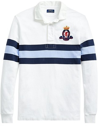 Polo Ralph Lauren Stripe Embroidered-Patch Rugby Shirt