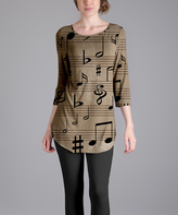 Lily Beige Musical Notes Scoop Neck Tunic - Plus Too