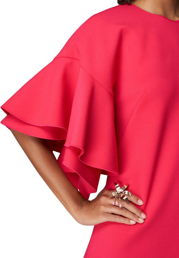 Thumbnail for your product : Carolina Herrera Tiered Ruffle-Sleeve Shift Dress