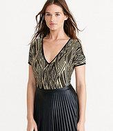 Lauren Ralph Lauren Cutout-Shoulder V-Neck Metallic Short Sleeve Sweater